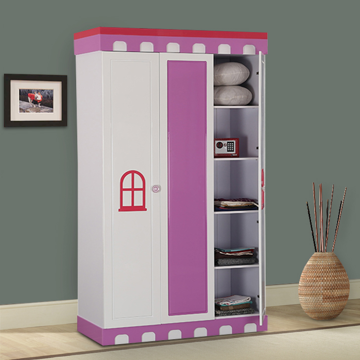 Castle Engineered Wood Three Door Wardrobe in Highgloss White & Pink Colour by HomeTown