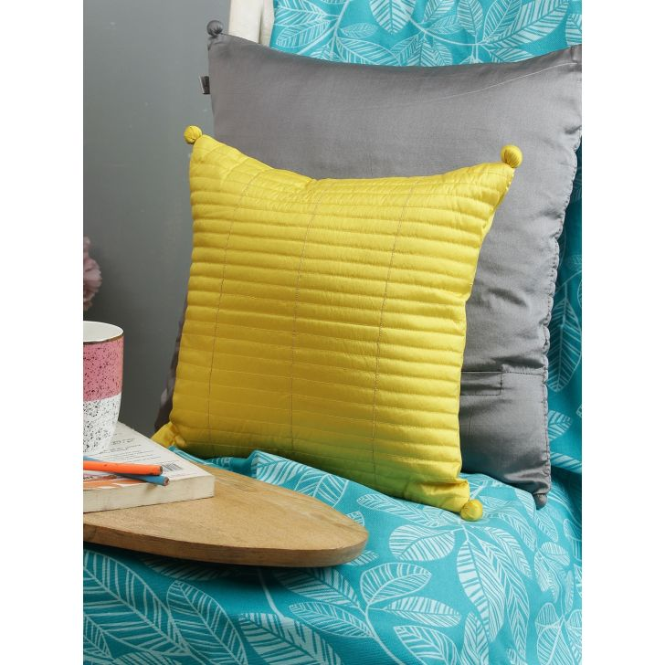 Milan  Cushion Cover 16X16 CM in Mustard Colour by Living Essence