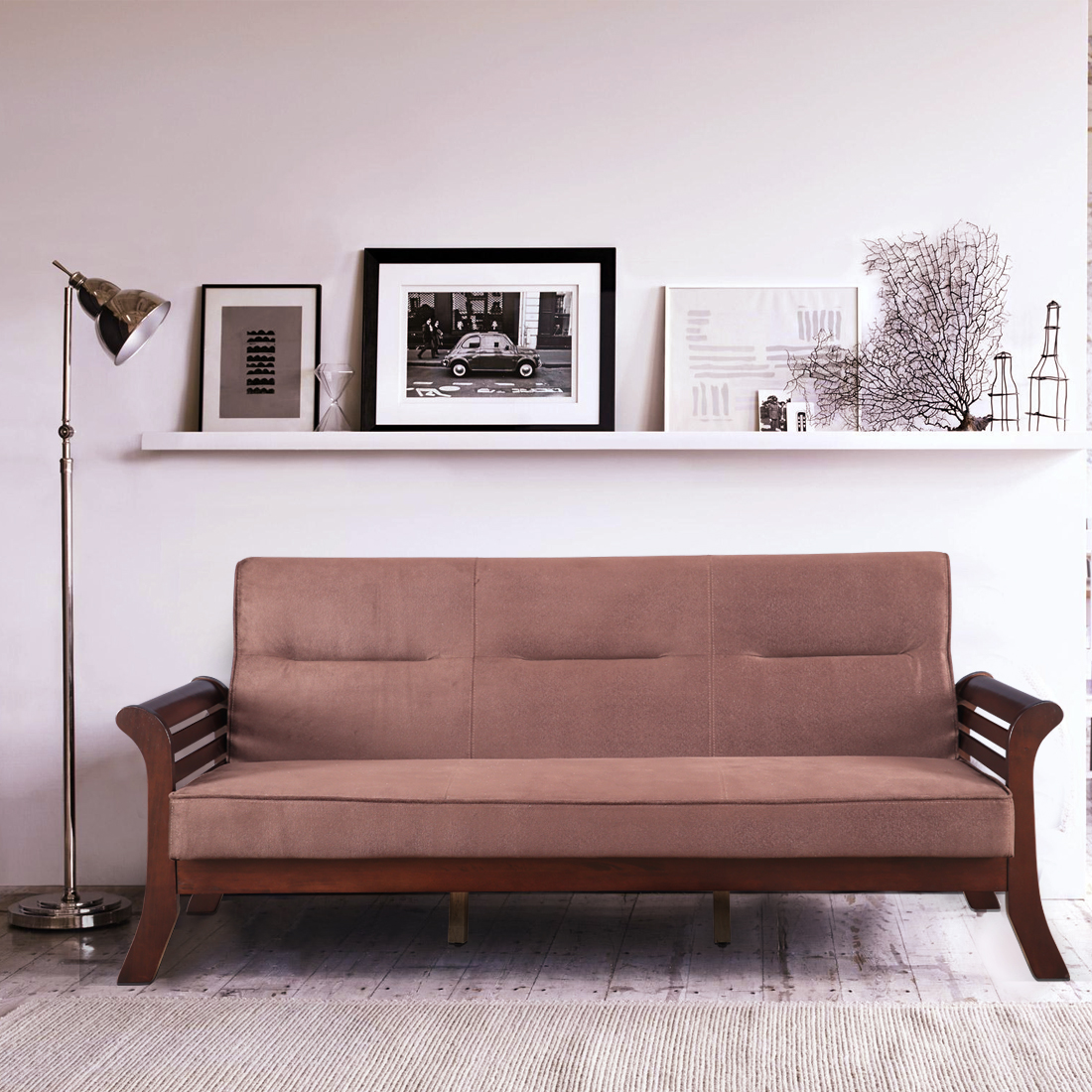 Herman Solid Wood Three Seater Sofa in Brown Colour by HomeTown