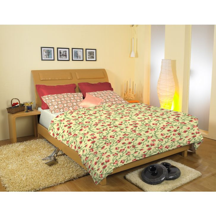 Cotton Double Bedsheet in Yellow Colour by Easy Life