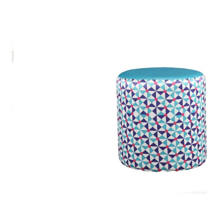 Le Bunny Fabric & Leatherette Ottomans and Pouf in Blue & Pink Colour by HomeTown