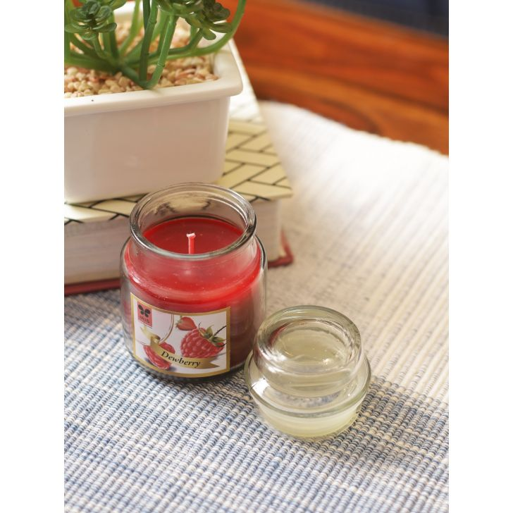 Jar Candle Wax In Glass Bottle in Dewberry Colour