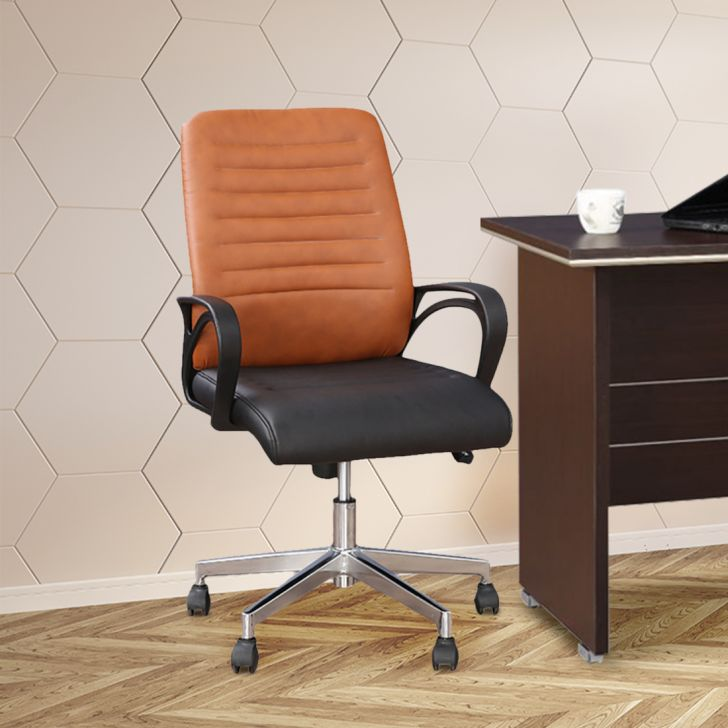 Xylo Half Leather Mid Back Office Chair in Dual Tone Colour by HomeTown