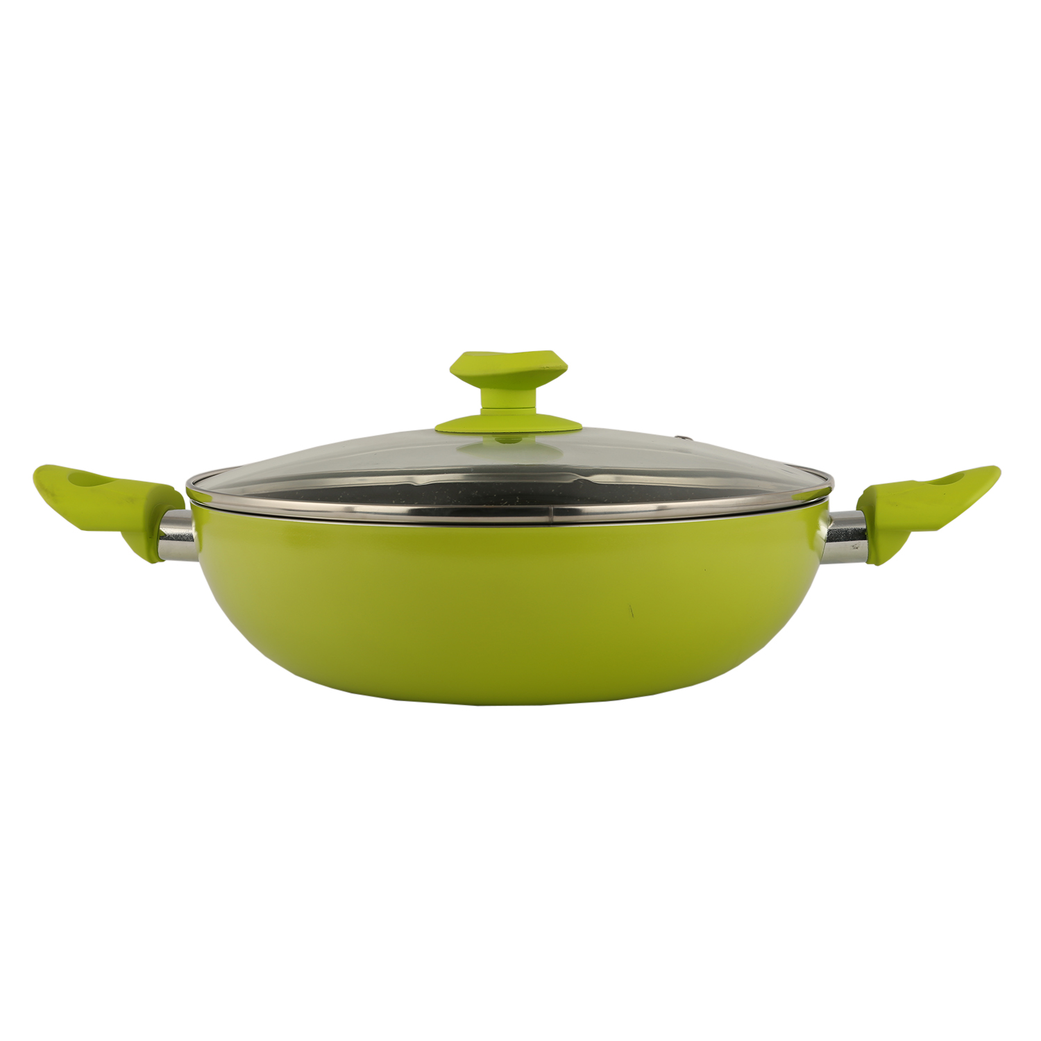 Granite Kadai 28cm with Lid Lime Pressed Alluminium Kadhai & Wok in Lime Colour by Living Essence