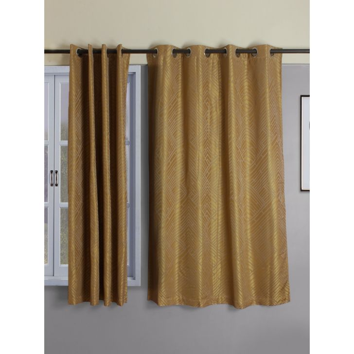 Set of 2 Emilia Jacquard Blackout Polyester Window Curtains in Mustard Colour by Living Essence