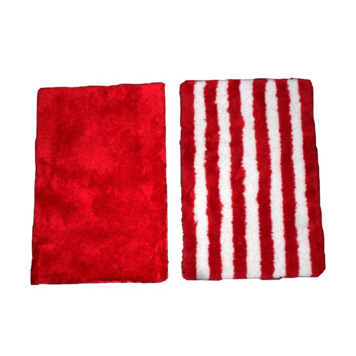 Spaces Bath Carnival Set Of 2 Red Cotton Bath Mat - Small