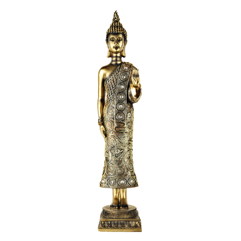 Standing Embellished Buddha Figurine Polyresin Idols in Gold Colour by Living Essence