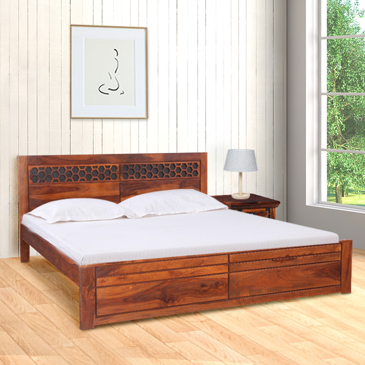 Amara Sheesham Wood(Rosewood) Queen Bed in Honey Colour by HomeTown
