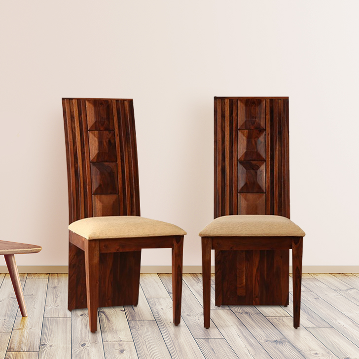 Woodrow Solid Wood Dining Chair Set of Two in Honey Colour by HomeTown