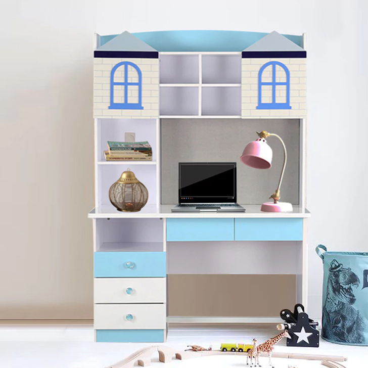 Castle Engineered Wood Study Table in Highgloss White & Blue Colour by HomeTown