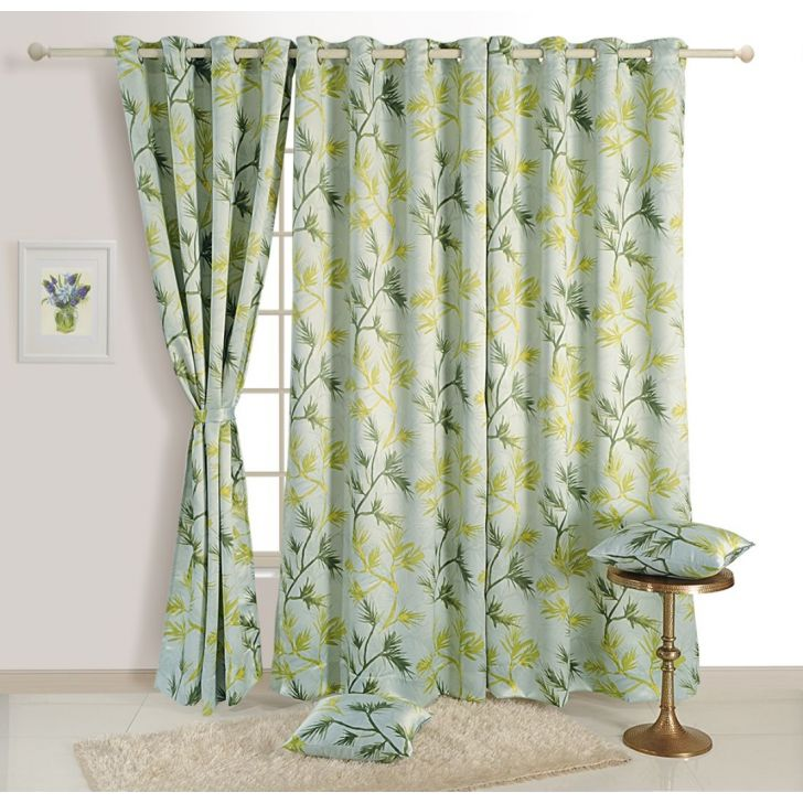 Sigma Print Blackout Door Curtain 122X228 CM in Green Colour by Swayam
