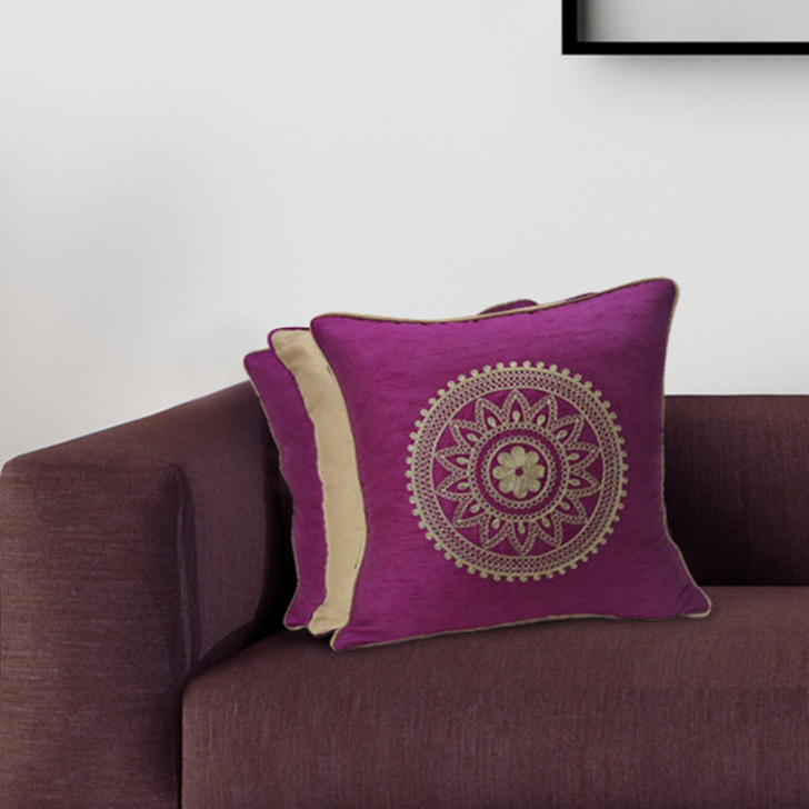 Set Of 3 Cc 16X16 Fiesta Magenta Gold Polyester Cushion Cover Sets in Magenta Gold Colour by Living Essence