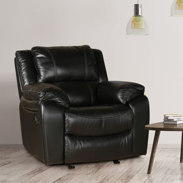 Bristol Half Leather Single Seater Recliner in Black Colour by HomeTown