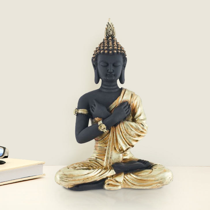Fio Sitting Buddha Cross Hands Gold Polyresin Idols in Gold Colour by Living Essence