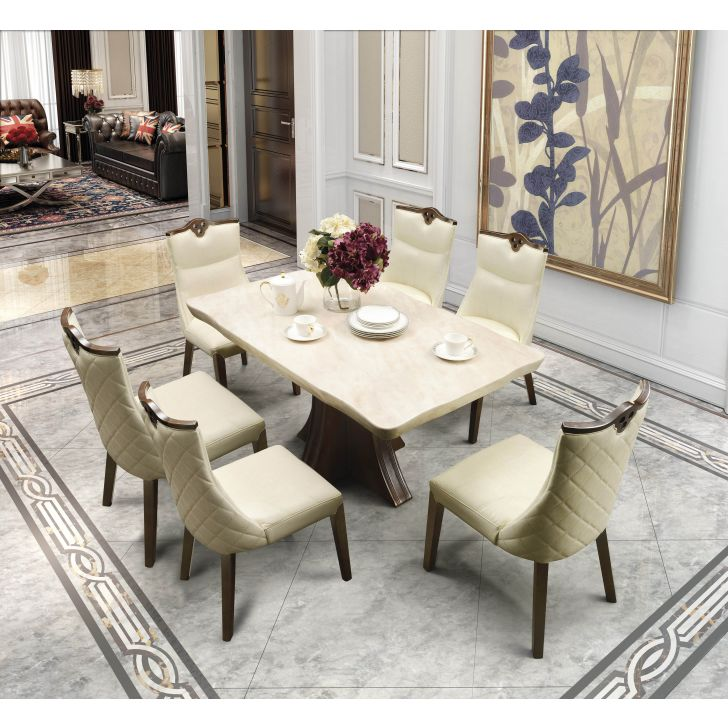 Alston Marble Six Seater Dining Set in Ivory Colour by HomeTown