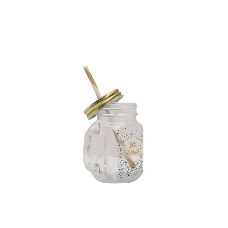 Ecctic Celebration Car Mason Jar Glass Mason Jars in Transparent With Multicolor & Gold Colour by HomeTown