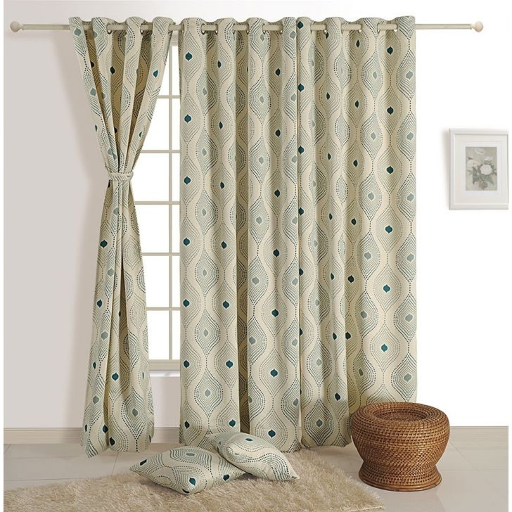 Abstract Window Curtain In Cream& Blue Color By Swayam