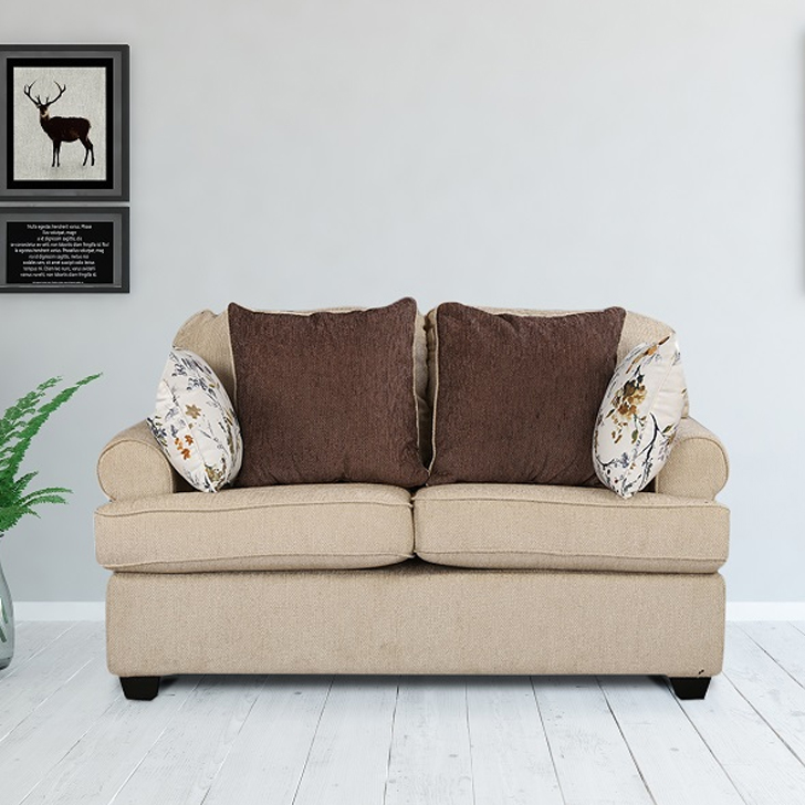 Nicholas Fabric Two Seater sofa in Ivory Colour by HomeTown