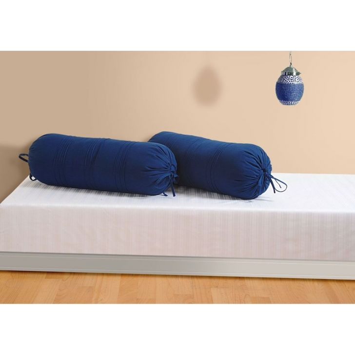 Solid Bolster Cover In Blue Color By Swayam