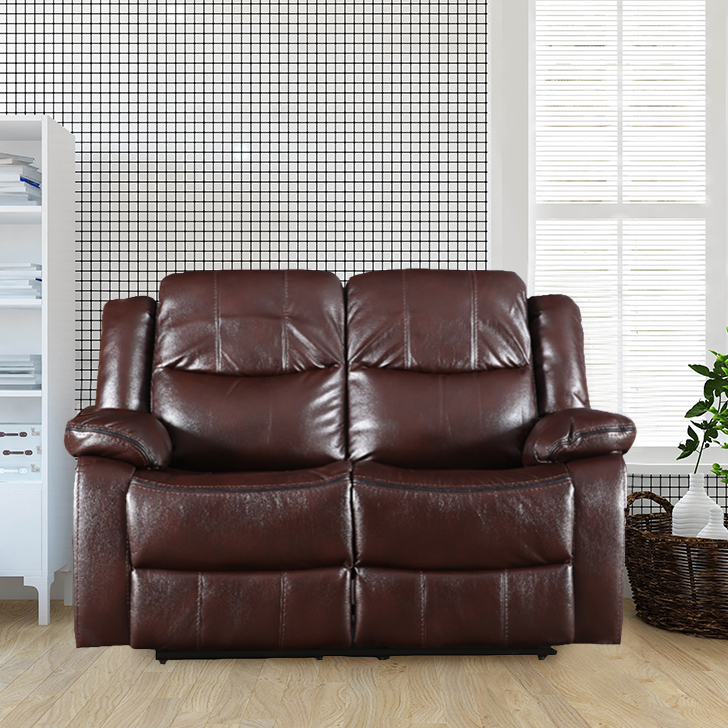 Hugo Fabric Two Seater Recliner in Brown Colour by HomeTown