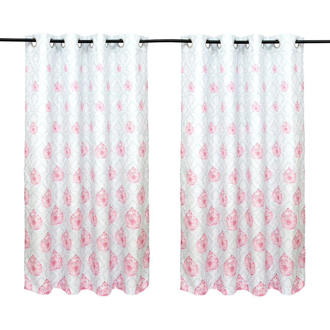 Nora Printed set of 2 Polyester Window Curtains in Rose Colour by Living Essence