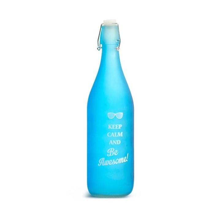Frosted Glass Water Bottle Teal Glass Glass Bottles in Teal Colour by Living Essence