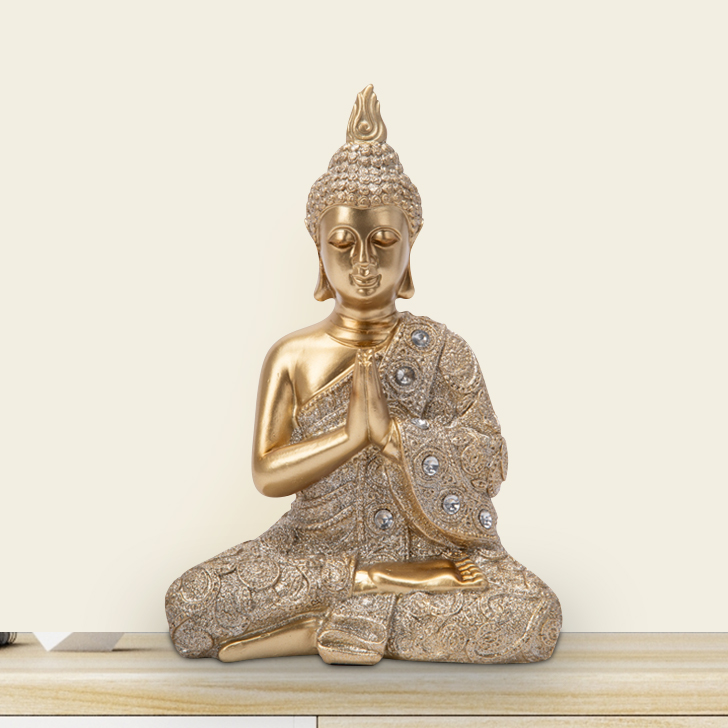 FiO HANDS JOINED PRAYING BUDHA 23CM Idols in Gold Colour by Living Essence
