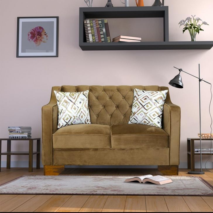 Lanett Solid Wood Two Seater Sofa in Brown Colour by HomeTown