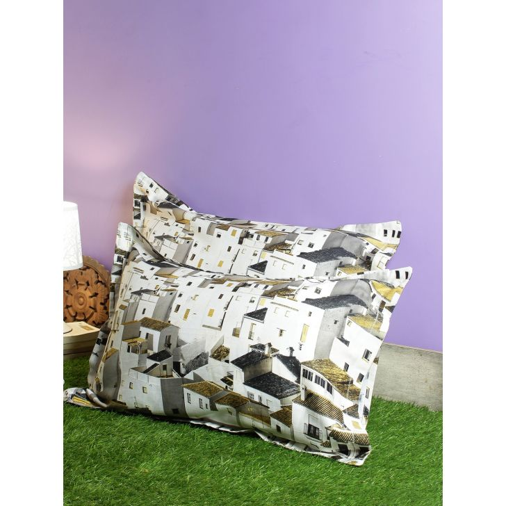 Set Of 2 Nora Palette Digi Printed Polyester Pillow Covers in Mustard Colour by Living Essence