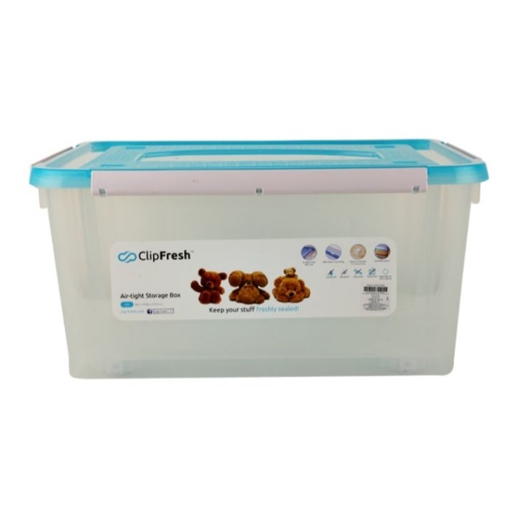 Clip Fresh Storage Box 40 Ltr. With Wheel Plastic Kitchen Storage in Translucent With Blue Lid Colour by Living Essence
