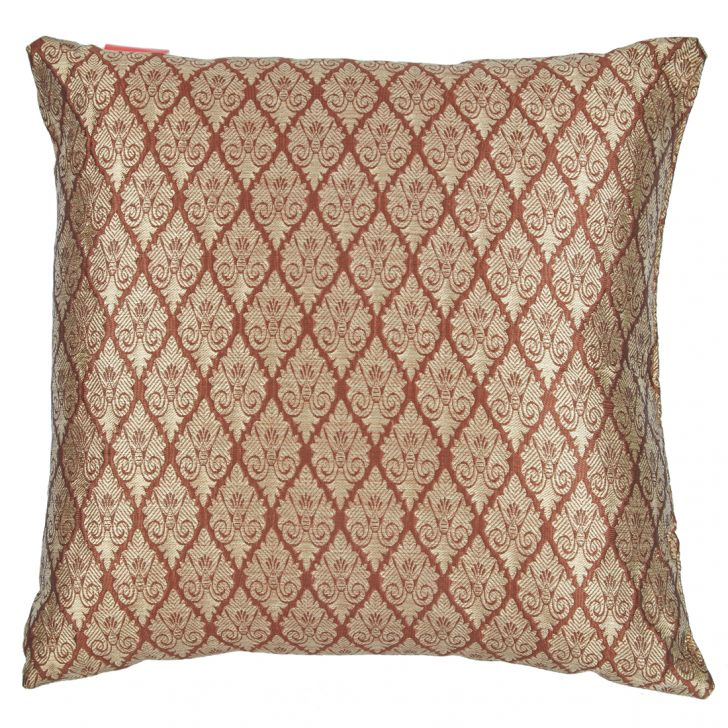 Filled Cushion Miraya Brown Beige Brocade Cushion Fillers in Brocade Colour by Living Essence