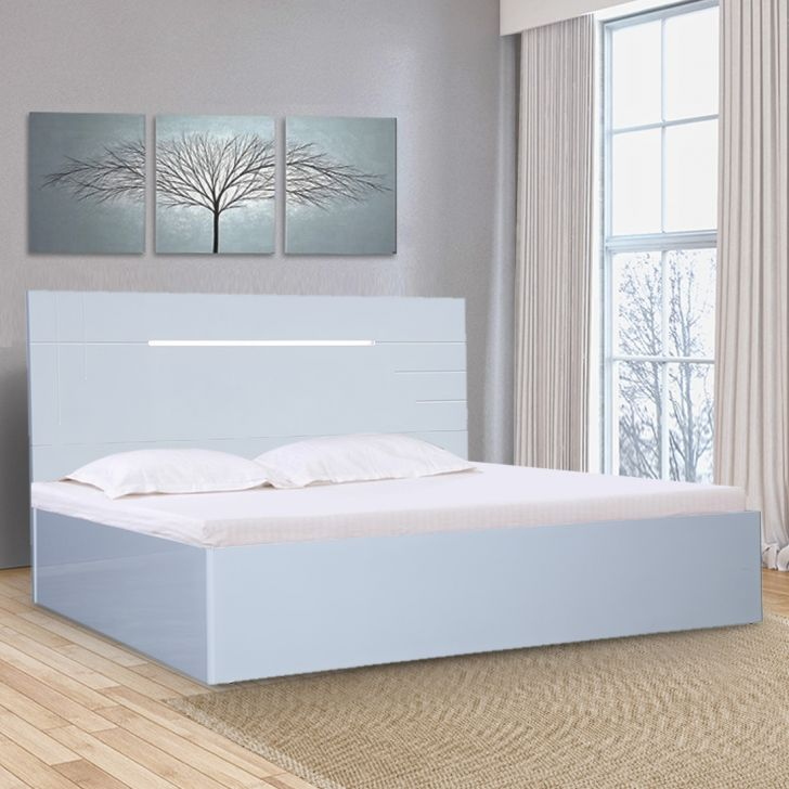 Electra High Gloss Queen bed with Hydraulic storage in White Colour