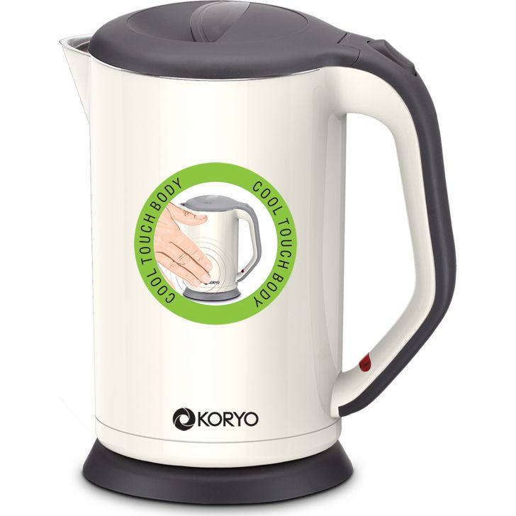 Electric Kettle (1800 W) - 1.7 Litres - White by Koryo