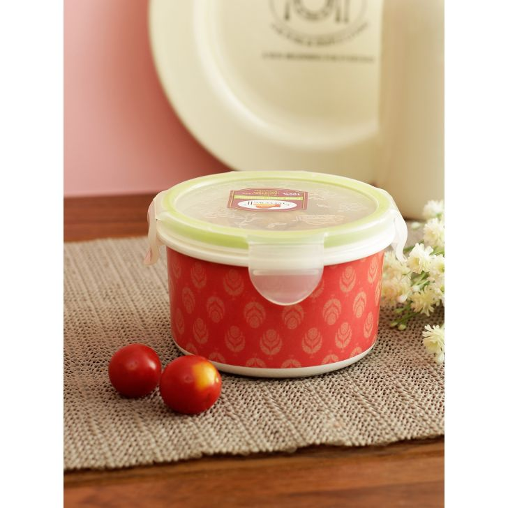 Nora Folklore Melamine Round Container 400 Ml in Multi Colour by Living Essence