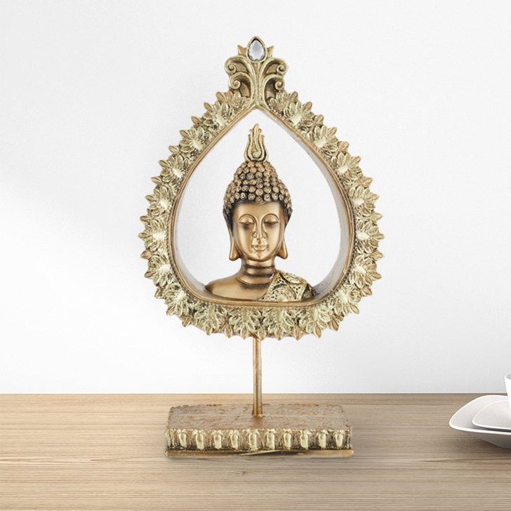 Fio Peace Buddha On Stand Polyresin Idols in Gold Colour by Living Essence