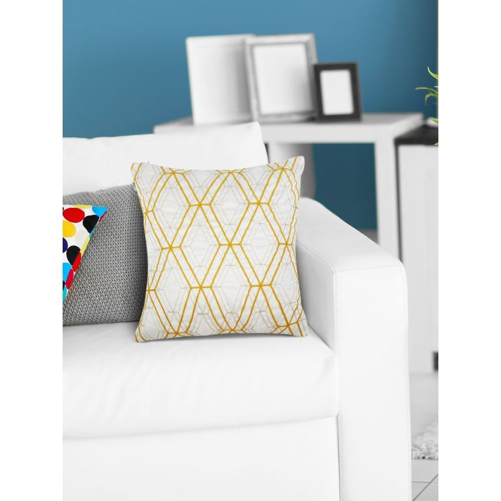 Modern Diamond Grid Polyester Cushion Covers in Offwhite Gold Colour by Living Essence