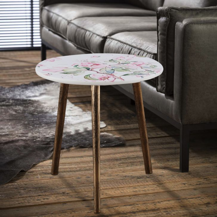 Ardina Engineered Wood Side Table in White Colour
