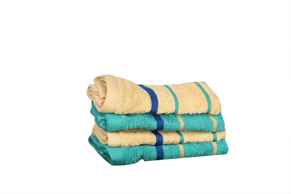 Emilia Face Towel Butterscotch & Teal Carded Cotton Face Towels in Butter Scotch &Amp; Teal Colour by Living Essence