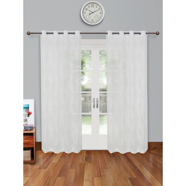 Amour Sheer Set of 2 Polyester Door Curtains in Off White Colour by Living Essence
