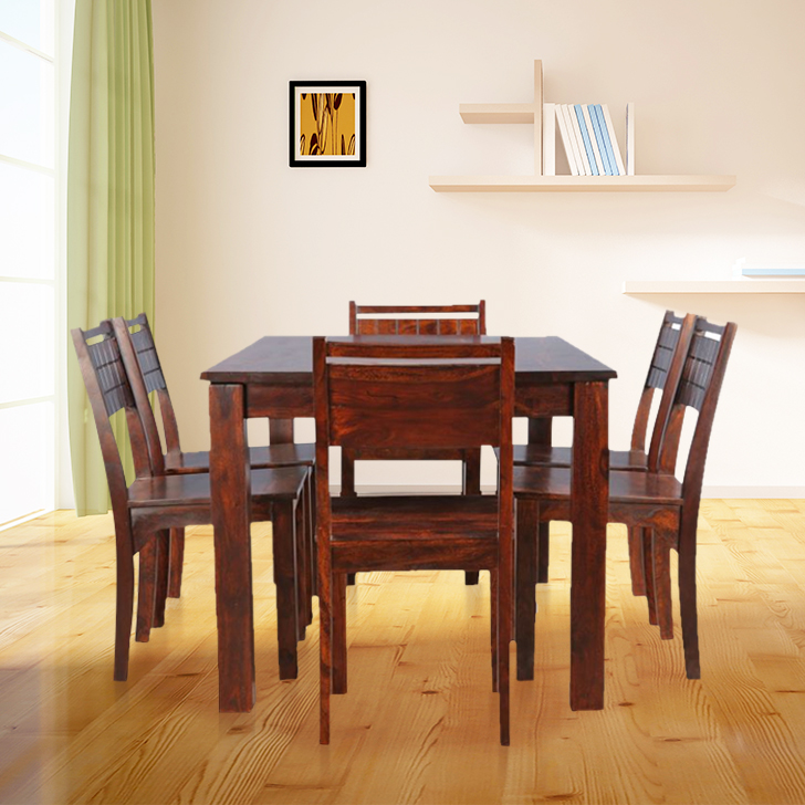 Trelis Solid Wood Six Seater Dining Set in Honey Colour by HomeTown