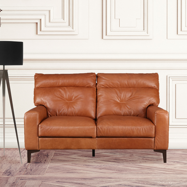 Harris Leather Two Seater Sofa in Tan Colour by HomeTown