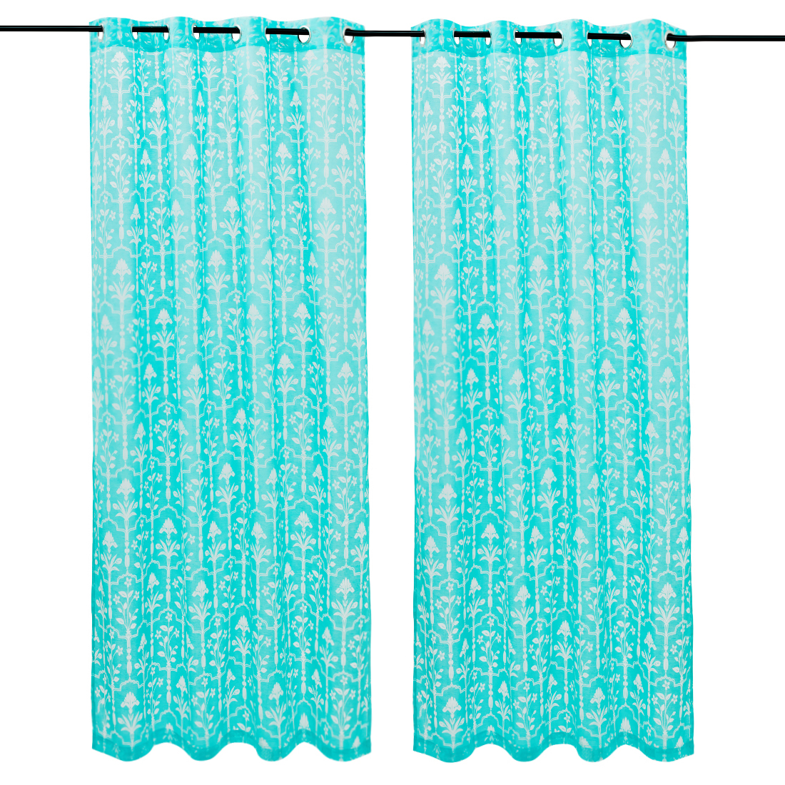 Amour set of 2 Polyester Door Curtains in Turquoise Colour by Living Essence