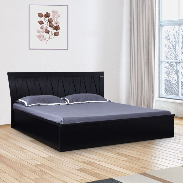 Morgan Engineered Wood Hydraulic Storage King Size Bed in Wenge Colour by HomeTown