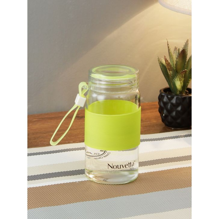 Cster Borosilicate Glass Bottle 500 Ml With Silicon Grip by Nouvetta