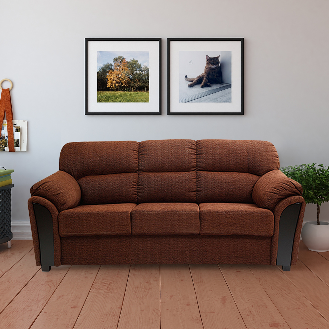 Ohio Fabric Three Seater sofa in Brown Colour by HomeTown