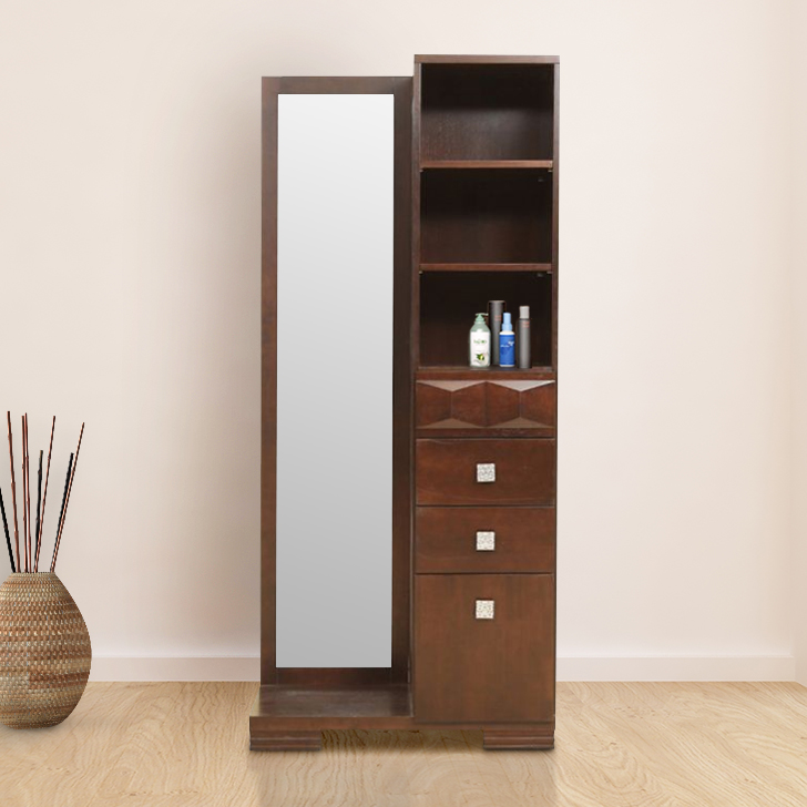 Amelia Solid Wood Dressing Table in Walnut Colour by HomeTown