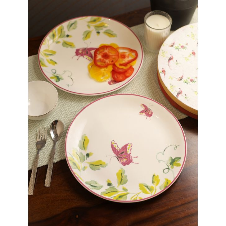 Laura Ashley La floral Heritage Bone China Buffet Plate Set of 2 in White Colour by Laura Ashley
