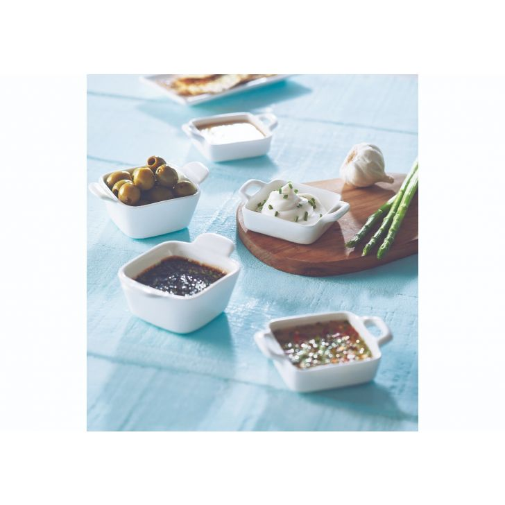 Square Pan Dip Set Ceramic Serving Sets in White Colour by Songbird