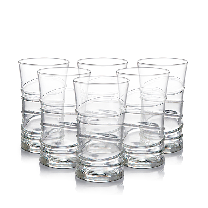 Lyra Ring Long Drink Glass 350 ml 6 Pcs Glass Bar Glassware in Transparent Colour by Lyra