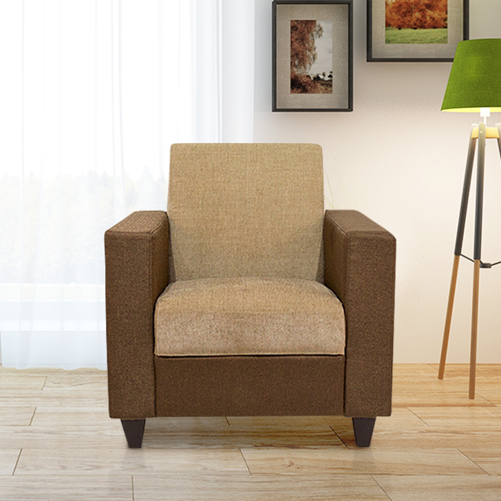Ciaz Fabric Single Seater Sofa in Brown Colour by HomeTown